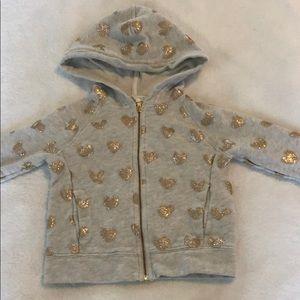 JCrew Crewcuts heart glitter zipper hoodie